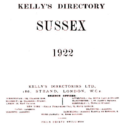 Title page of Kelly's Directory Sussex 1922