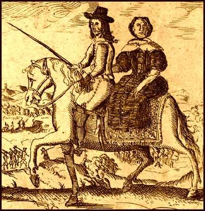 King Charles II, disguised as a servant, en route to France