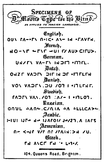 Specimens of Dr. Moon's Type for the Blind as Applied to Foreign Languages