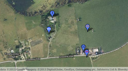 Mobile phone antennae locations on Truleigh Hill