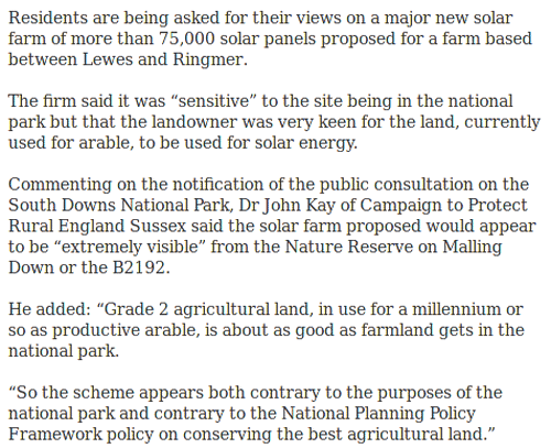 Solar Subsidy Farm in the South Downs National Park