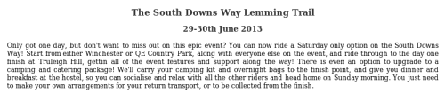 The South Downs Way Lemming Trail 29-30th June