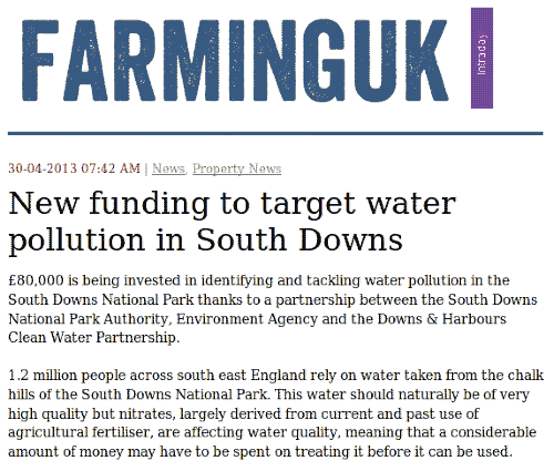 Farming UK: water polluted by nitrates