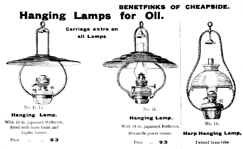Oil Lamps from the 1914 Gamages catalogue