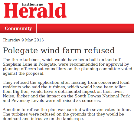 Polegate wind farm refused