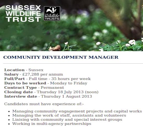 Sussex Wildlife Trust Community Development Manager