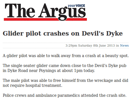Glider pilot crashes on Devil's Dyke