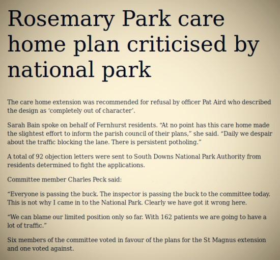 Care home extension SDNPA planning precedent