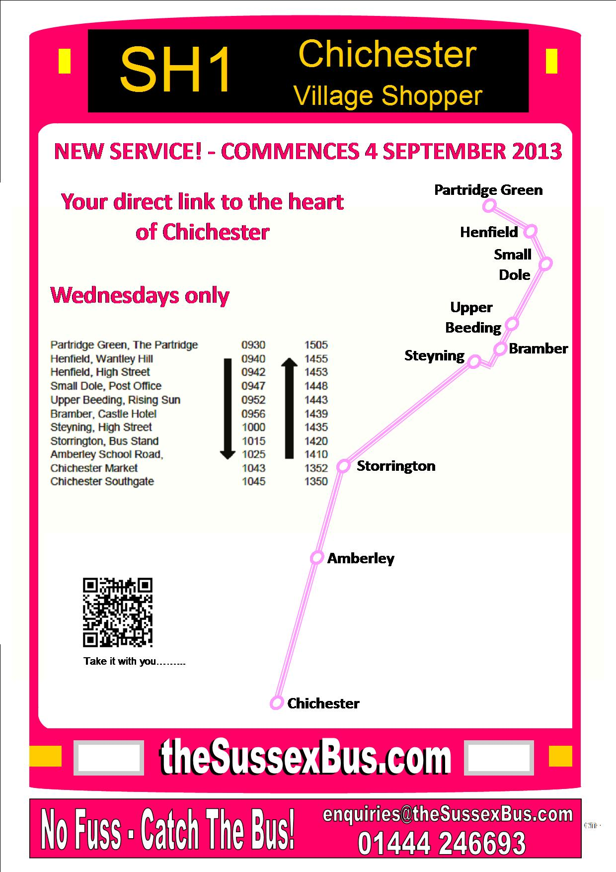 SH1 Timetable Small Dole Steyning Storrington Amberley Chichester