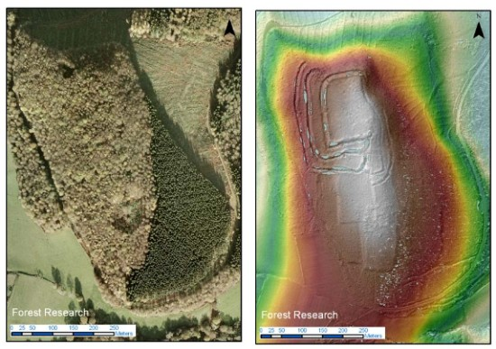Aerial photo versus LiDAR showing hidden archaeological features