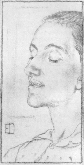 Margaret Barber drawn from life by Elinor Dowson in July 1901