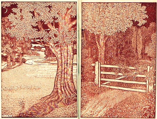 The White Gate, an etching by Will G. Mein from the endpapers of Scott Palmer & Haggard 1913