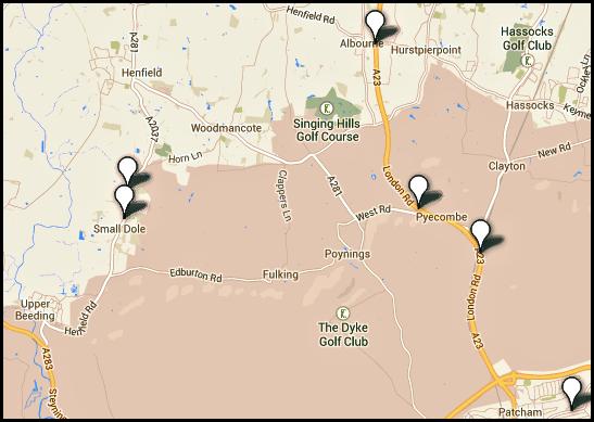Local speed camera sites around Fulking