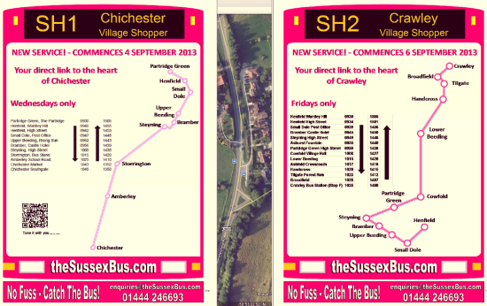 SH1 SH2 routes and timetables: Small Dole, Chichester, Crawley
