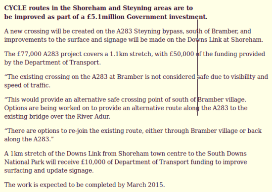 Shoreham Steyning cycle routes