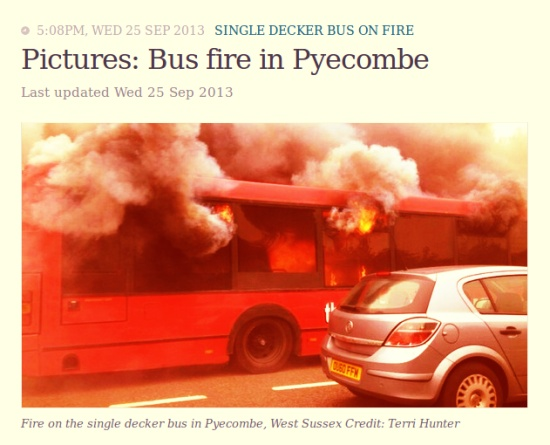 Bus on fire in Pyecombe