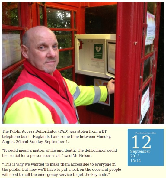 Defibrillator stolen from telephone box