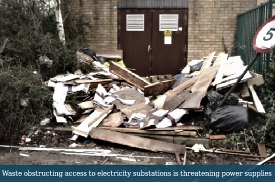 Fly-tipping at electricity substation