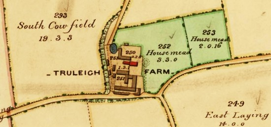 Truleigh Manor Farm as it appears in the 1842 tithe map