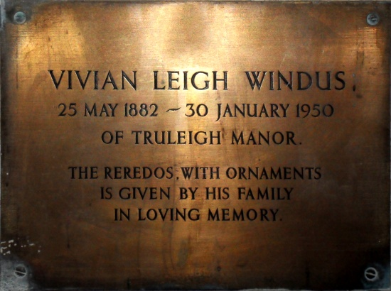 Vivian Leigh Windus memorial plaque at St. Andrew's Edburton