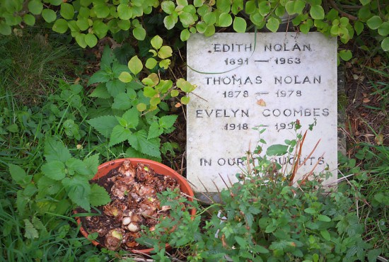The Nolan family grave in the churchyard at Edburton