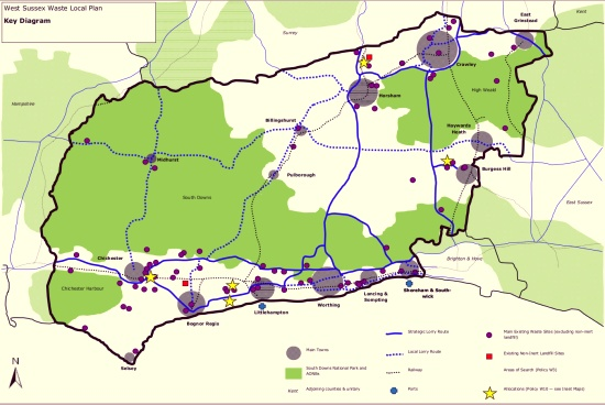 West Sussex Waste Local Plan 2013 map