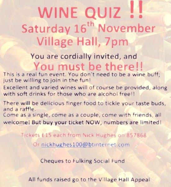 Wine Quiz Fulking 16th November 2013