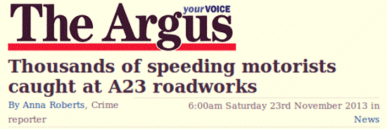 Thousands fined for speeding on the A23 between Handcross and Warninglid