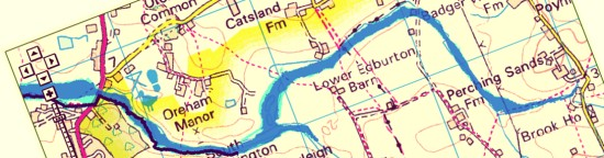 The risk area for flooding in Edburton and Fulking