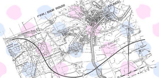 The pink/blue route for the Arundel by-pass