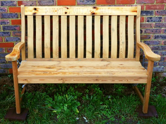 The new bench outside Fulking Village Hall