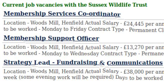 Three Sussex Wildlife jobs at Woods Mill