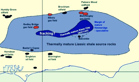 Balcombe and the Weald shale map