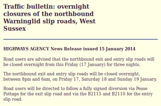 Warninglid slip roads closures