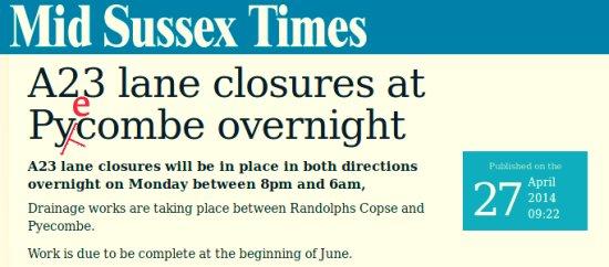 Pyecombe lane closures