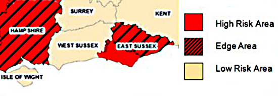 West Sussex is at low risk for bovine TB