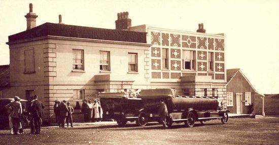 Charabancs outside the Dyke Hotel