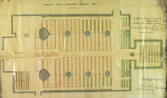 Ground Plan Steyning Church 1851