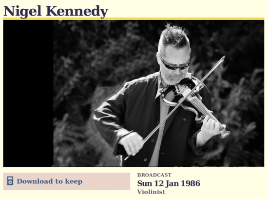 Nigel Kennedy on Desert Island Discs 1986