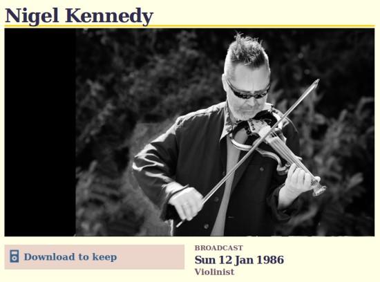 Nigel Kennedy on Desert Island Discs 1986