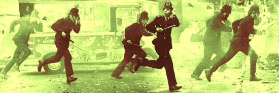 Retreating police