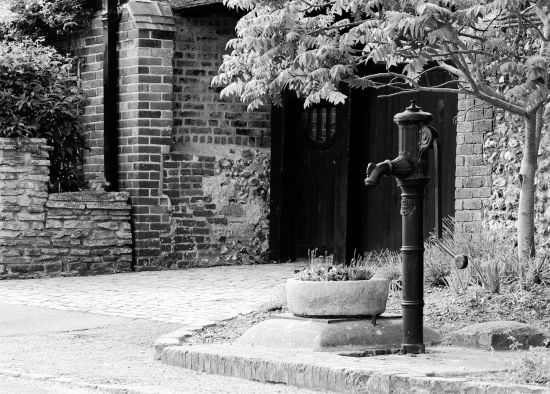 The hand pump outside Fulking Farmhouse