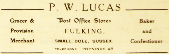 P.W. Lucas Post Office Stores Fulking letterhead