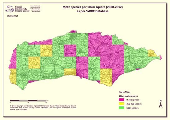 Sussex Moth Species Map