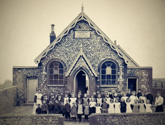 Edburton School with pupils and teachers