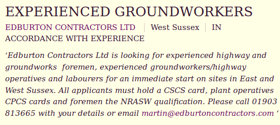 Experienced groundworkers Edburton Contractors