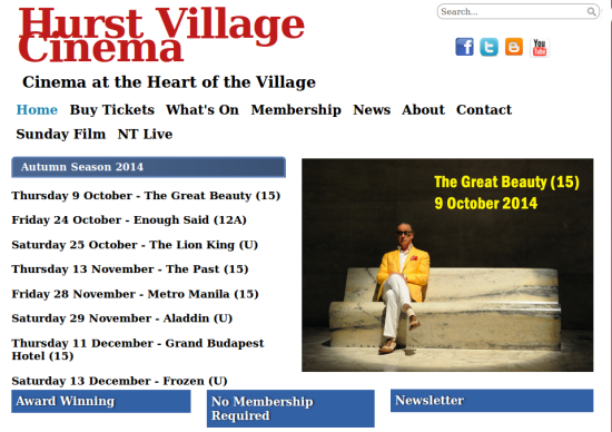 Hurst Village Cinema Autumn 2014 programme