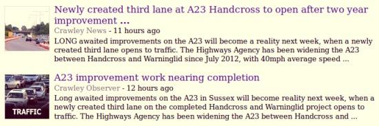 A23 third lane opens