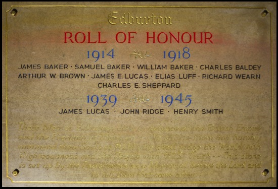 Roll  of Honour St. Andrew's Church Edburton