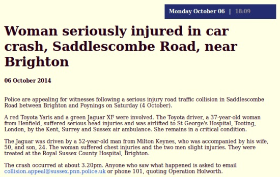 Cars collide on Saddlescombe_road